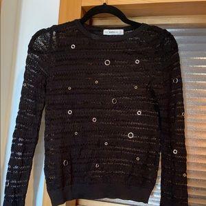 Zara black knit sweater with grommet details